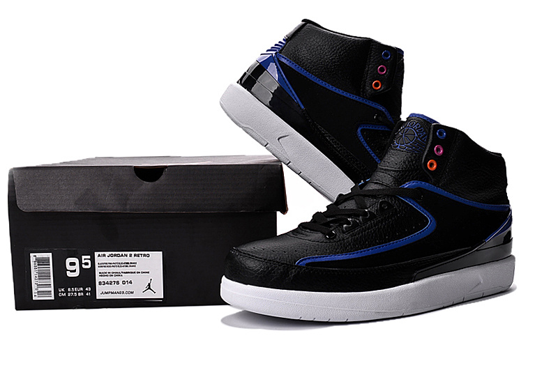 New Air Jordan 2 Black Blue Shoes For Sale